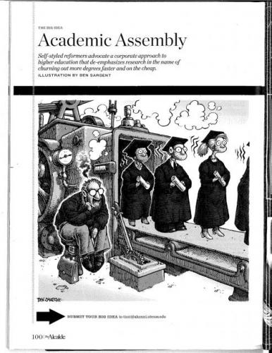 "Cartoon image by Ben Sargent titled ""Academic Assembly"""
