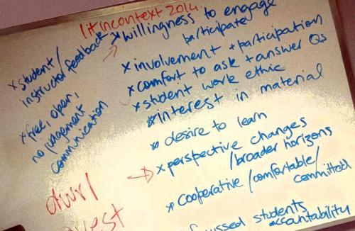 Whiteboard with brainstormed text about what makes a class successful