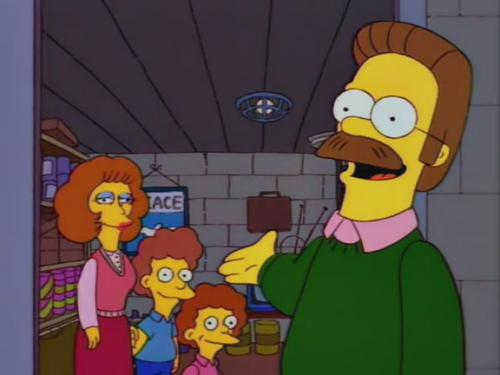 Ned Flanders invites the town into his bomb shelter.