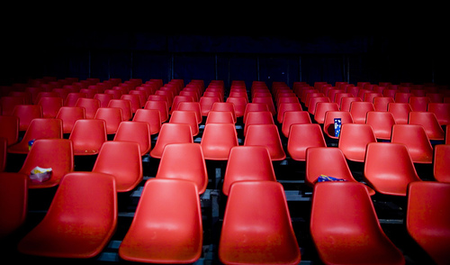 Empty seats to indicate the vast possibilities of potential audiences online