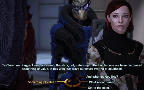 Three characters converse using the dialogue wheel in Mass Effect One