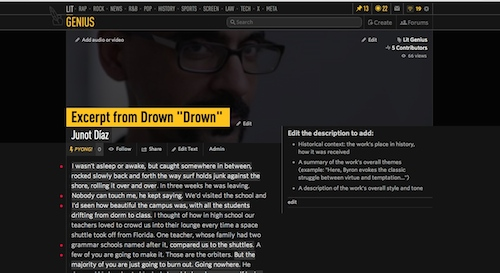 A page from Rapgenius, now called Genius, that includes an excerpt from Junot Diaz's Drown annotated by my students and a portrait of the author.