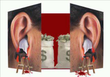 A doctor's body inside large, bleeding ears with large money bags against a blood-red backdrop seen behind the mirror images of the enlarged close up of a man's ears.