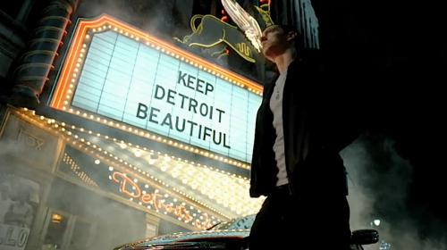 "Eminem looking at marquee saying ""Keep Detroit Beautiful"""