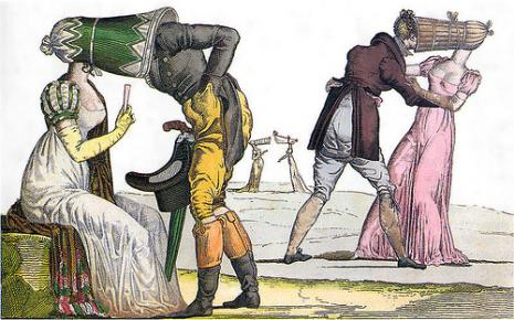 Satirical image of eighteenth-century women in over-large bonnets