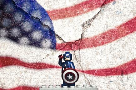 Lego Captain America Stands In Front of American Flag