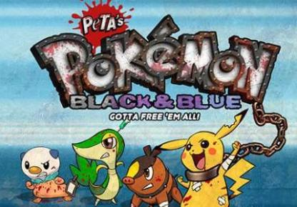 Image of Pokemon characters re-designed by Peta for its Flash game