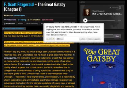 "Screen shot of the first chapter of ""The Great Gatsby"" by F. Scoot Fitzgerald, with an example annotation and the cover of the novel."