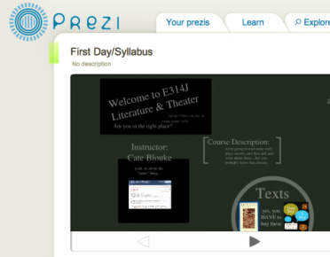 Screen Shot of Prezi presentation