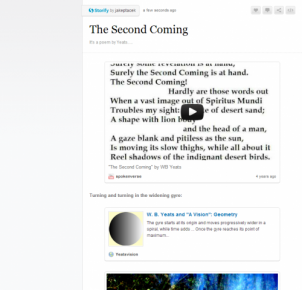 "Screenshot of Storify page, with YouTube video of ""The Second Coming"""