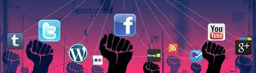 Social media logos juxtaposed with solidarity fists