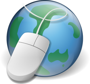 A computer mouse superimposed over a globe