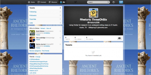 A screenshot of a twitter page. The tiled background is a blue textbook with a white greek column.