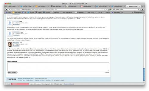 Screenshot of class wiki page with comments