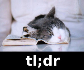 Kitten sleeping on a book with TL; DR written at the bottom
